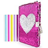VIPbuy Magic Reversible Pink Heart Sequin Diary Notebook Lined Travel Journal with Lock & Key , Size A5, 78 Sheets
