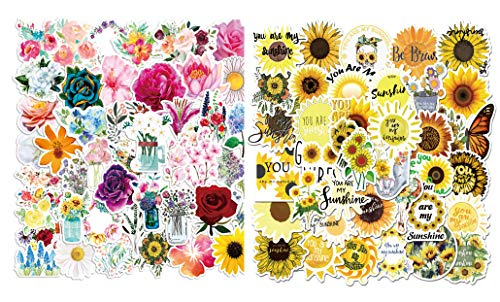 100pcs Various Sunflower Spring Flowers Stickers Planner Water Bottles Scrapbook Journals Laptop Phone Hydroflasks Watercolor Potted Plant Vinyl Sticker Waterproof Aesthetic Decals for Teens Girls
