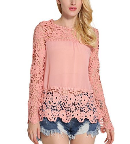 Fanmay Elegante blusa de manga larga para mujer, cuello redondo, hueco, de encaje, monocolor, elegante Rosa. M
