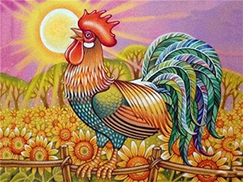 dxycfa Kits de pintura por números Cock DIY Pintura al óleo con pinceles y pigmento acrílico Pintura en lienzo de bricolaje para niños adultos principiantes 16x20 pulgadas (Sin marco)