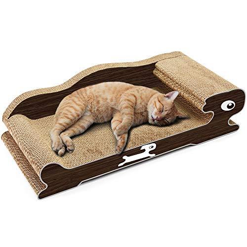 BERYLSHOP Cat Scratcher Lounge 60x28x16cm Zoll Karton Möbel Konstruktion mit Catnip (Color : Black, Size : 60 * 28 * 16cm)
