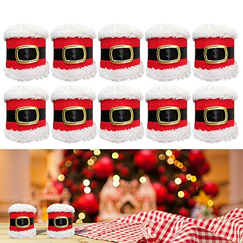 YBB 10 Pcs Christmas Santa Claus Belt Napkin Rings Serviette Holder for Hotel Restaurant Wedding Christmas Party Dinner Table Decor