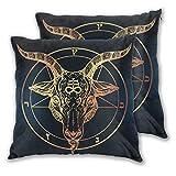 VINISATH Set de 2 Funda de Cojín 60x60cm Pentagrama-con-Demon-Baphomet-Satanic-Goat-Head-Binary-Symbol-Tattoo-Retro-Music (1) Fundas de Almohada para Cojines Decorativos para Sofá Cama Coche Hogar