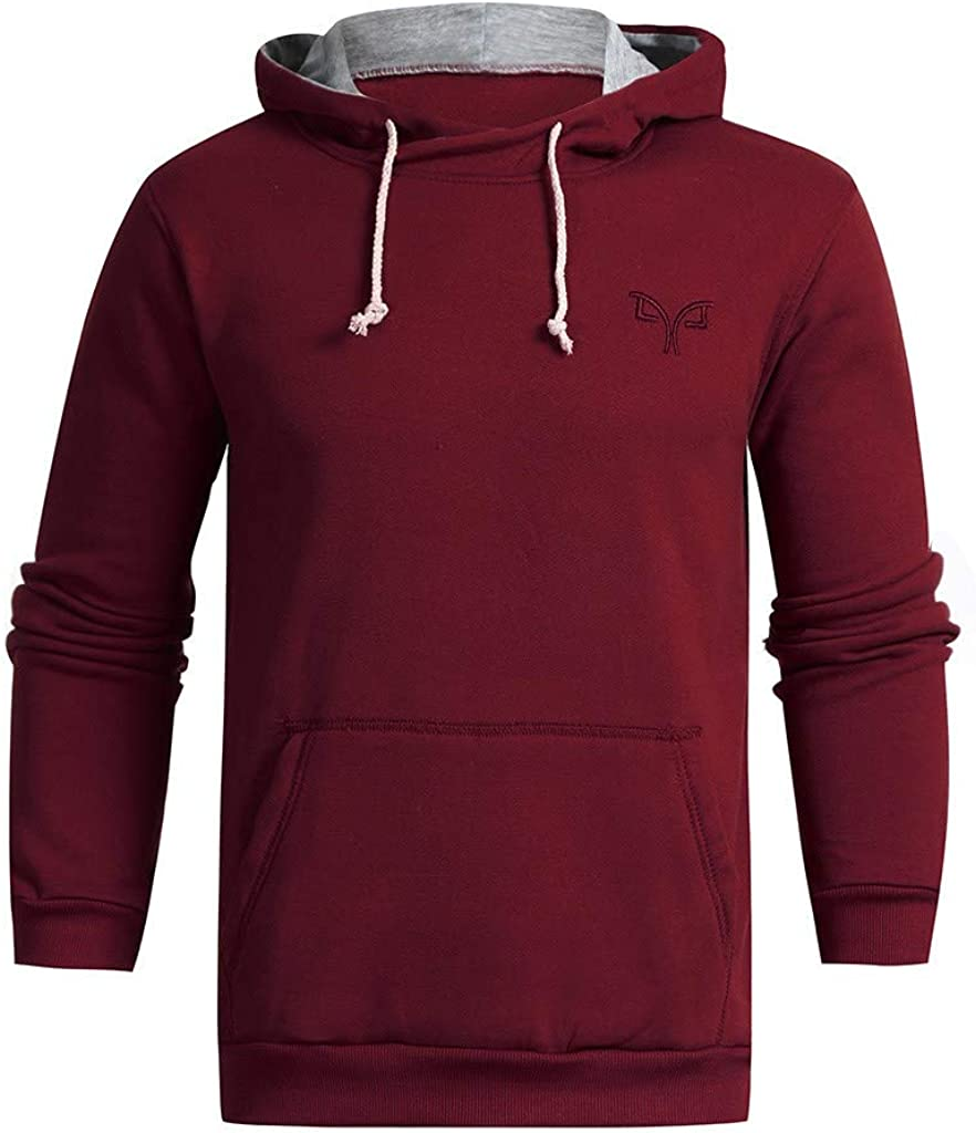Misaky Hoodies for Men Autumn & Winter Casual Loose Solid Color Pocket Long Sleeve Pullover Hooded Sweatshirt