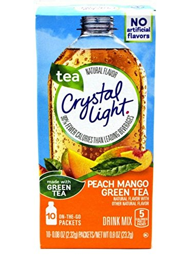 Crystal Light On The Go Peach Mango Green Tea (Pack of 4) Gluten Free - New 2016 Packaging