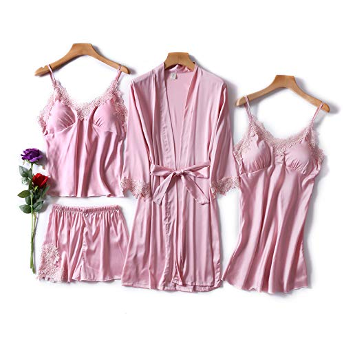 Dames Pyjama,4 Stks Sets Sexy Pyjama Set Vrouwen Lingerie Faux Zijden Kamerjas Kant Sling Shorts Zomer Gewaad Nachtkleding Homewear Loungewear Met Borst Pads