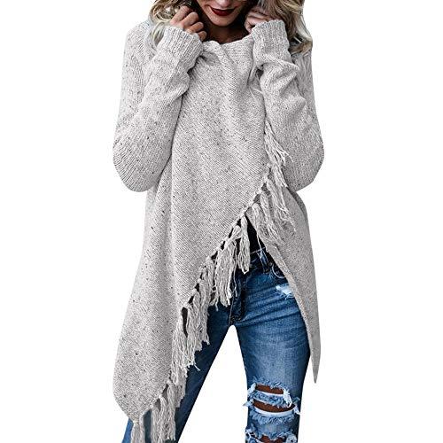 iHENGH Damen Herbst Winter Bequem Lässig Mode Frauen Streifen Poncho Herbst Quasten Slash Gradient Schal Saum Fransen Lose Pullover(Grau, XL)