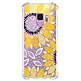 KIOMY Galaxy S9 Case Clear with Sunflower Design Shockproof Bumper Protective Cell Phone Back Cover for Samsung Galaxy S9 5.8 Inch Cute Flower Flexible Slim Fit Soft Rubber TPU Floral for Girls Women
