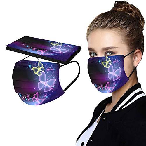 Dwevkeful 10 Stück Disposable Mehrfarbig Mundschutz mit Sternendruck Mund-Nasen Bedeckung Halstuch Schals Staubdicht Atmungsaktiv Multifunktionstuch Bandana für Herren Damen