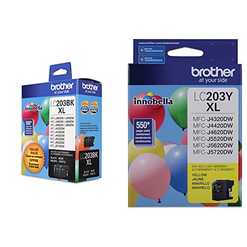 Brother Genuine High Yield Black Ink Cartridges, LC2032PKS & LC-203YXL DCP-J4120 J562 MFC-J4320 4420 460 4620 4625 480 485 5320 5520 5620 5720 680 880 885 Ink Cartridge (Yellow) in Retail Packaging