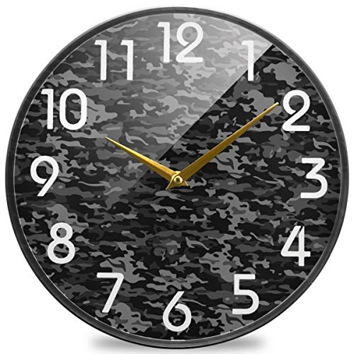 Naanle Dark Camouflage Pattern Round Wall Clock, 9.5 Inch Silent Battery Operated Quartz Analog Quiet Desk Clock for Home,Office,School