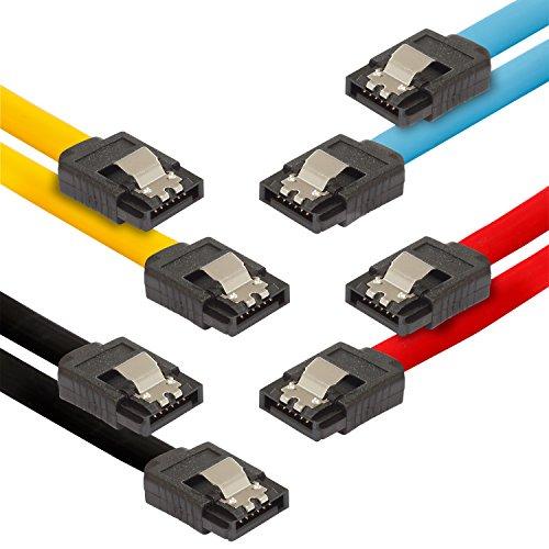 Poppstar 4x cavi dati di 0.5m flessibili Sata 3 HDD SSD, connettore dritto, fino a 6 GB/s, colore nero, giallo, rosso, blu