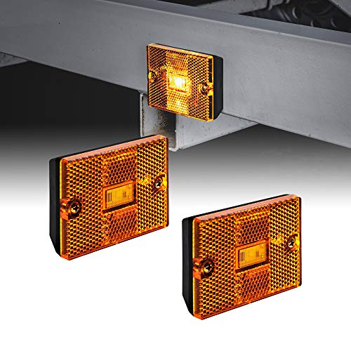 "2pc Amber LED Side Marker Light [DOT Certified] [IP67 Waterproof] [ Integrated Reflector] for Utility Boat Trailers Over 80"" Camper RV Clearance Light"