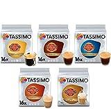 Tassimo Caf Marcilla Caf Seleccin - Marcilla Caf con Leche/Cortado/Espresso/Caf Largo/Espresso Descafeinado Cpsulas de Caf - 5 Paquetes (80 Porciones)