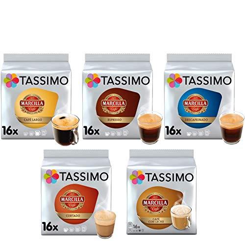 Tassimo Café Marcilla Café Selección - Marcilla Café con Leche/Cortado/Espresso/Café Largo/Espresso Descafeinado Cápsulas de Café - 5 Paquetes (80 Porciones)