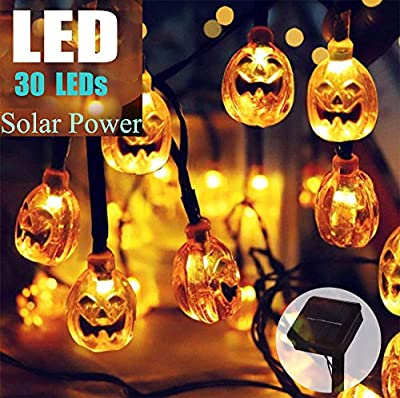 Batlofty Halloween Solar Lights, Pumpkin LED String Lights with 20 ft 30 LEDs and IP65 Waterproof, Decorative Outdoor String Lights for Patio, Garden, Gate, Yard, Halloween Christmas Decoration