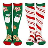 Lavley - Womens - Knee High Novelty Christmas Socks - (Gnomes & Trees, Cookies & Candy) (Green and White)