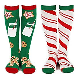 2 pack knee high christmas socks for women - 2 cute holiday designs (gnomes & trees, cookies & candy) 1 your friends will laugh out loud: women and men say our colorful and comfortable lavley christmas knee socks go with just about any look and get giggles fast; whether your feet are propped on the couch, baking christmas cookies for santa, or at home opening presents, you'll smile as friends and family share a laugh together about these adorable knee high christmas socks. Perfect for christmas lovers: this 2 pack of knee high socks for women feature one pair of gingerbread cookies/chocolate chip cookies and milk and one pair of candy cane stripes and are perfect for that loved one who truly appreciates the sweetness of the holiday season. Cute christmas socks are always a win around the holidays, especially for funny white elephant gift ideas, yankee swap presents, and secret santa gifts and gifts for women. Designed for christmas lovers: our premium fabrics stand up to daily wear, so you'll enjoy gift-giving confidence for friends and loved ones who could use some smiles and a good laugh.
