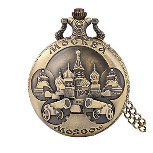 YUTRD ZCJUX Vintage Retro Bronze Moskau Quarz Taschenuhr Casual Männer Frauen Uhr Anhänger Halskette Kette Russland Souvenirs Geschenk