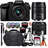Panasonic Lumix DMC-G7 Mirrorless Micro Four Thirds Digital Camera with 14-42mm and 45-150mm Lenses (Black)+ Essential Accessory Bundle incl. Wide-Angle & Telephoto Conversion Lens, Gadget Bag & More