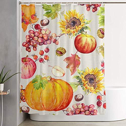 Nongmei Duschvorhang,Obst & Gemüse mit Herbstlaub Aquarell,Badvorhang waschbarer Badvorhang Polyestergewebe mit 12 Kunststoffhaken 180x180cm