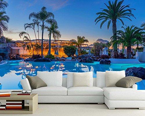 Wxlsl 3D Tapete Spanien Resorts Swimming Pool Palmen Tapete Wohnzimmer Sofa Schlafzimmer Tv Sofa Wand Restaurant Benutzerdefinierte Wandbild-250cmx175cm