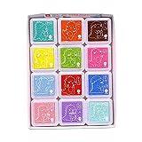 Juego de Almohadillas De Tinta, para pintar en tela de scrapbook de huellas dactilares para niños (12 colores)