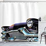 ABAKUHAUS Autos Duschvorhang, Altertümlich Auto, Digital auf Stoff Bedruckt inkl.12 Haken Farbfest Wasser Bakterie Resistent, 175 x 200 cm, Schwarz Hellblau Orange