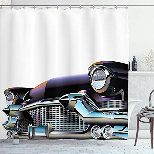 ABAKUHAUS Autos Duschvorhang, Altertümlich Auto, Digital auf Stoff Bedruckt inkl.12 Haken Farbfest Wasser Bakterie Resistent, 175 x 180 cm, Schwarz Hellblau Orange
