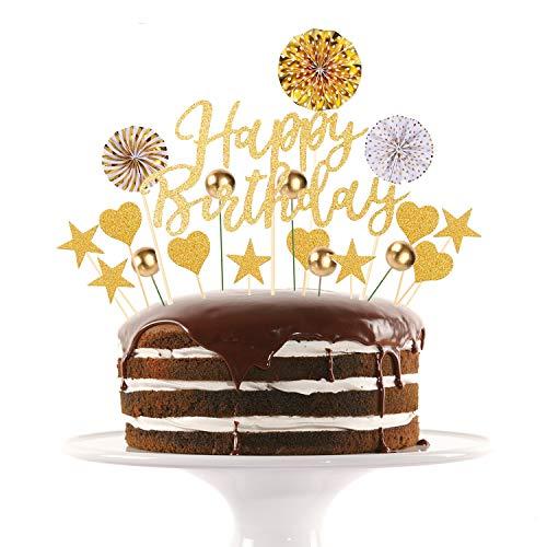 RayE Dorado Decoracion Tarta cumpleaños,Letrero de Happy Birthday para decoración para Tarta,Adecuado para niños Adulto Fiestas Familiares de cumpleaños