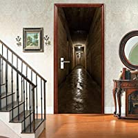 3Dドアステッカー壁画 暗い廊下3Dドアステッカーリフォームドア家の装飾ドアポスター