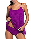 Tankini Baño de Malla para Mujer, Deportivo Traje de Baño Push Up Beachwear Bikini Púrpura Small