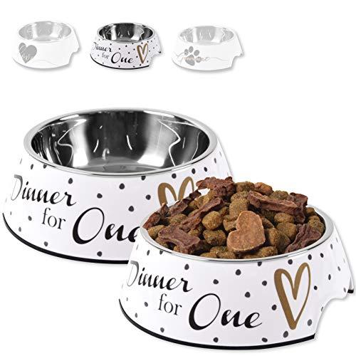 ne&no® Futternapf 2er Set für kleine und mittelgroße Hunde, Katzen oder Welpen   Fressnapf stabil, robust & rutschfest   Melamin-Napf 350 ml   herausnehmbarer Edelstahl-Napf   mit Motiv