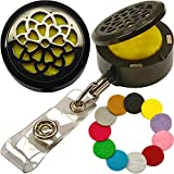 Custom One-Piece Aromatherapy Essential Oils Stainless Steel Diffuser with Elegant Locket-Style Lid Retractable Heavy Duty Belt Clip ID Badge Holder (BK Mandala)