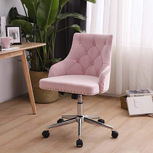 Lifetech Pink Velvet Office Chair with Wheels and Arms Velvet Desk Chair Velvet Vanity Chair for Bedroom Living Room (Pink)