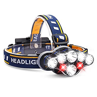 Harmonic Headlamp, 13000 Lumen 8 LED Headlight with White Red Lights, USB Rechargeable Waterproof Head Lamp, 8 Modes Headlamp Flashlight for Outdoor Camping,Cycling,Fishing,Running