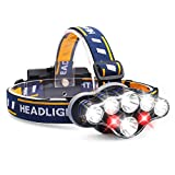 Harmonic Headlamp, 1300 Lumen 8 LED Headlight with White Red Lights, USB Rechargeable Waterproof Head Lamp, 8 Modes Headlamp Flashlight for Outdoor Camping,Cycling,Fishing,Running