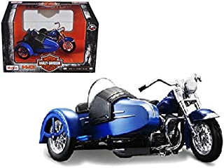 Maisto 1952 Harley Davidson FL Hydra Glide with Side Car Blue with Black Motorcycle Model 1/18 Model
