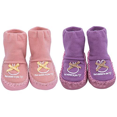 Lindos Calcetines Antideslizantes para Unisex Bebés Bebé Niños Bebé Niñas Primeros Zapatos para Niñas Calcetines de Algodón Prewalker Zapatilla de Calcetín Mocasines con Agarraderas para Pequeños