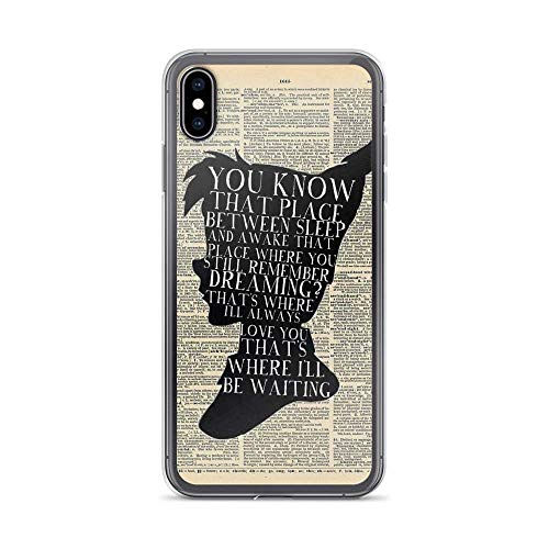 ASFDSDF Peter Pan Vintage Dictionary Page Style - That Place Compatible with iPhone Cabina telefonica Case Pure Clear Phone Cabina telefonica Cases Cover(iPhone 7 Plus/8 Plus)