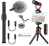 Movo VXR10+SP Universal Smartphone Video Kit with Rig, Mini Tripod, Microphone and Lightning, USB Type-C Dongles - Compatible with iPhone 11, 11 Pro, XS, XR, X, Samsung Galaxy, Android