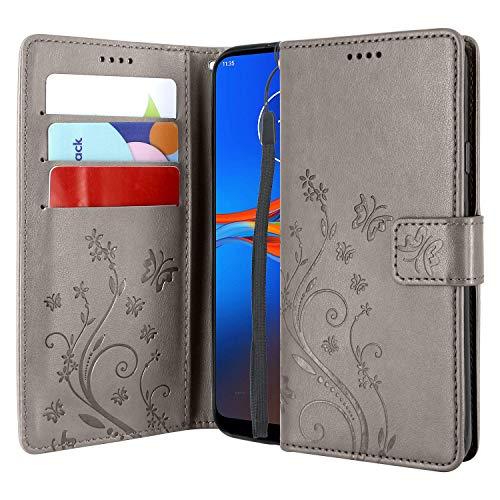 CMID Motorola Moto E6 Plus Hülle, Ständer PU Leder Brieftasche Handytasche Flip Bookcase Schutzhülle Cover mit Handschlaufe für Moto E6 Plus (Grau)