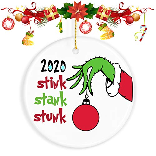 2020 Christmas Ornaments Quarantine, ValueVinylArt The Grinch Christmas Decor Funny Home Decor Christmas Tree Decoration - Best Gifts for Christmas