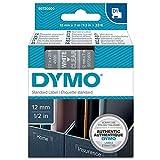 Dymo D1 Etichette Autoadesive per Stampanti LabelManager, Rotolo da 12 mm x 7 m, Stampa Bianco su Trasparente, S0720600