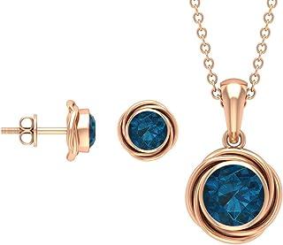 Swirl Jewelry, 2 CT London Blue Topaz Jewelry Set, Gold Pendant Set with Earrings