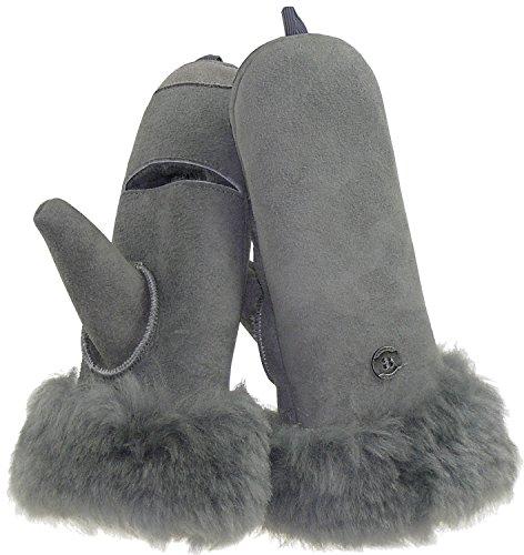 Harrys-Collection Damen Fäustling aus Lammfell zum aufklappen, Farben:grau, Handschuhgröße:M