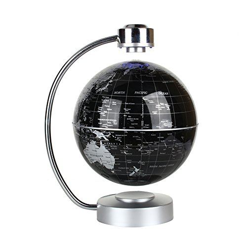 """Floating Globe, Office Desk Display Magnetic Levitating and Rotating Planet Earth Globe Ball with World Map, Cool and Educational Gift Idea for Him - 8"""" Ball with Levitation Stand (Black)"""