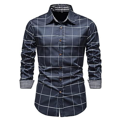 Shirt Hombre Moda Cómodo Satén Cuadros Estampado Hombre Casuales Camisas Otoño Invierno Solapa Cárdigan Hombre Básica Shirt Casual All-Match Hombre Manga Larga Shirt