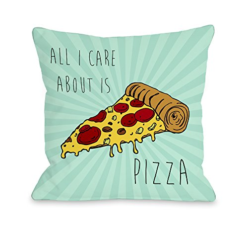 One Bella Casa Care About Pizza Throw Pillow by OBC, 18'x 18', Turquoise