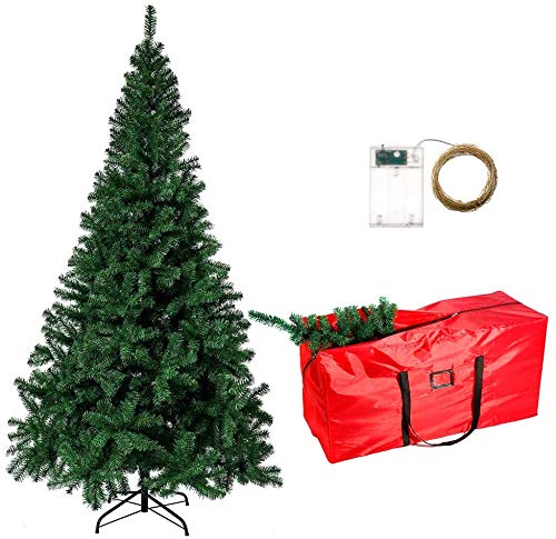 LAMPTOP 8FT/240cm Artificial Christmas Tree | Kingswood Fir Pencil Tree Slim| Includes Stand, Storage Bag, 1000CM Copper Fariy Light| Perfect Holiday Decoration for Christmas Party Xmas Decor